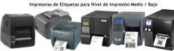 Impresoras Etiquetas Térmicas, Etiquetadoras Semi-Industriales y Sobremesa, para Etiquetado de Productos Químicos, de Producciones Medias / Bajas.