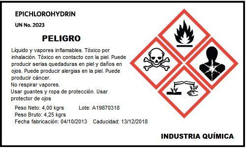 Etiqueta Adhesiva para industria quimica