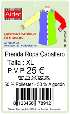 Etiqueta Cartulina Precios Textil